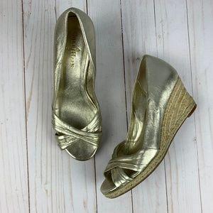 Cole Haan Nike Air Gold Camila Espadrille Wedge 7B